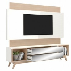 Rack Retrô com Painel TB143L com Led Off White com Natural